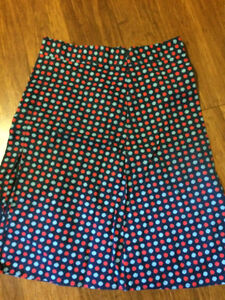 blue dotted skirt; like new