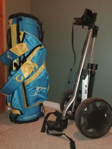 Golf bag and cadie set.