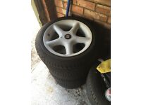 VW SEAT 15inch alloys..4x100 with new tyres.. Fits vauxhall audi bmw bbs