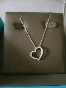 Birks diamond heart necklace with box
