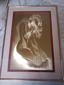 Optical illusionary art, kneeling naked woman on copper