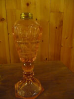 Vintage: One Pink Whale Oil Lamp & Four Clear Coal Oil Lamps