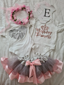 1st baby girl birthday outfits PINK-£8, MINNIE-£5