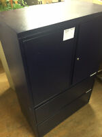 Metal combination cabinet with double drawers, dark blue
