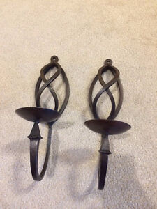 Pair wrought iron vintage wall sconce candle holder antique set