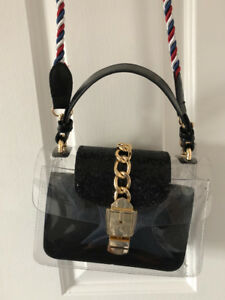 Fashionable Clear PVC Crossbody Bag and Black Faux Leather Purse