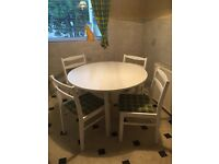 White Round Kitchen table & 4 chairs