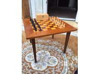 Vintage chess set and table/board