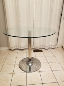 Round Glass Table with Chrome Leg