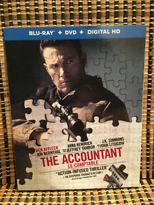 The Accountant (2-Disc Blu-ray/DVD, 2017)+Slipcover.Ben Affleck/