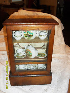 tres petite armoire style antique display cabinet & tea set#3236