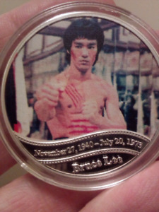 Large 40mm Bruce Lee 45th Anniversary Silver Plated Coin.