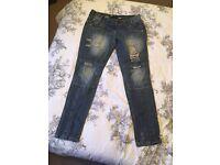 Ladies New Look distressed boyfriend jeans 10