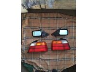 BMW e36 saloon rear tail lights and wing mirrors