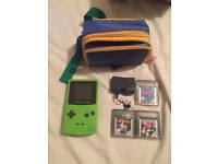 GameBoy Color with Battery Pack and Games