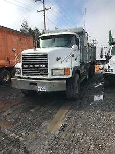 White Mack tri axle dump truck