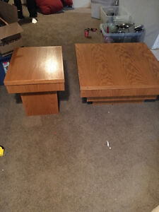 3 Solid Oak tables. 2 sides one coffee table