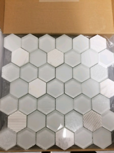 Glass Mosaic Tile - White and Grey