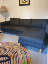 Dark blue corner sofa