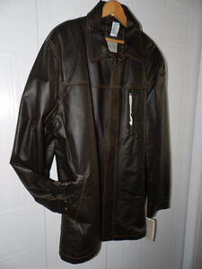 Brand New Never Worn Handsome Brown Genuine Leather Jacket Coat
