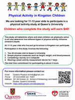 Earn $40: Children needed for Queen's physical activity study.