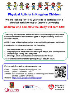 Earn $40: Children needed for Queen's physical activity study. Kingston Kingston Area image 1