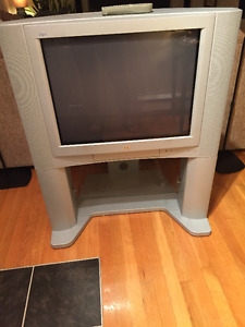 32 inch JVC TV and glass stand.