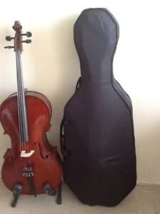 4/4 CELLO- Solid Spruce/Maple Woods-New Hard Shell Case + More