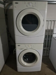 "whitlpool 27"" front load glass washer electric dryer stackable"