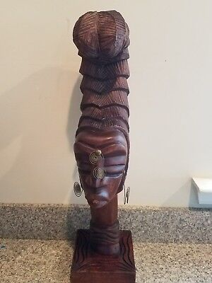 Vintage Carved African Wood Statue Tribal Woman Female Bust Carving Head