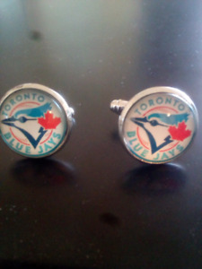 Brand New Toronto Blue Jays Cufflinks Silver With Glass Front.