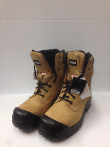 """""""sold""""  Aggressor STSP Leather Green Patch work Boots-Size 10.5"""