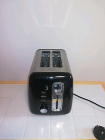 Black stainless steel two slice toaster