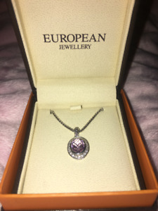 European Jewellers Necklace Amethyst and Diamonds