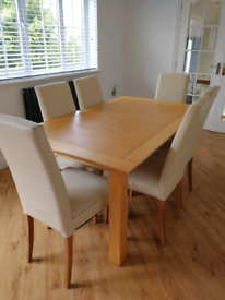 Solid wood dining table and six leather chairs & matching side unit