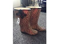 Brand new ladies leopard print wellies