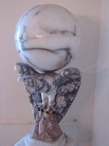 Italian Hand-Sculpted Marble Eagle w/ Alabaster Globe (Lamp)