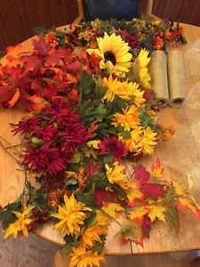 Fall Wedding Foliage, Gold Bows  and Flowers