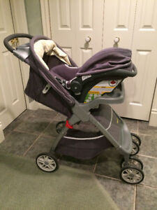 baby travel system stroller with car seat and base almost new!!