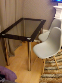 Ikea glass dining table & 4 chairs