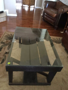 One of a KInd Espresso wood coffee table with tempered glass top