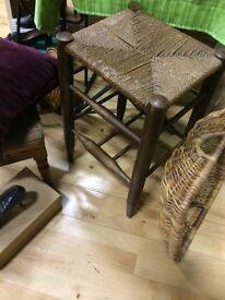 Vintage oak sea grass tall stool