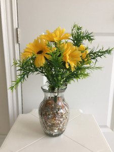 "18"" tall artificial silk Sunflowers with glass vase"