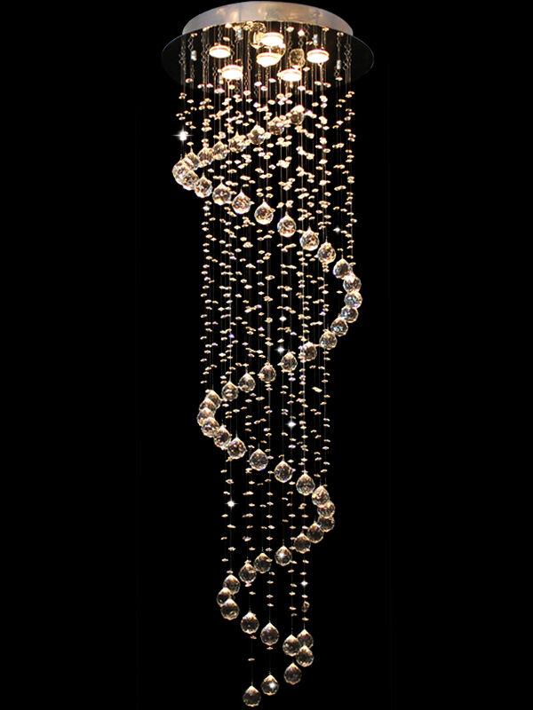 Modern Long Spiral Sphere Clear Crystal Droplet Ceiling Ligh