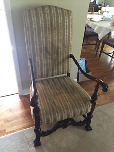 Antique Edwardian chair. Solid scrolled wood and upholstered.  Peterborough Peterborough Area image 1