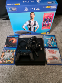 Ps4 slim console boxed 1tb hdd 4 games, controller, all cables