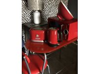 Red kitchen aplliances and table