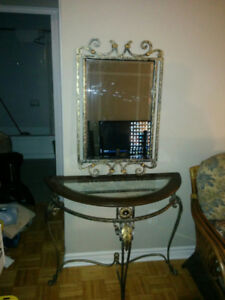 Glass end table with mirror (sofa table, hall table, entrance)