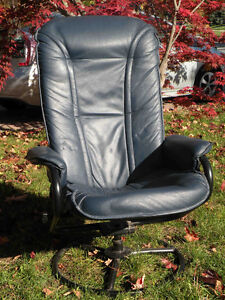 Blue Leather Lounge Chair, excellent condition