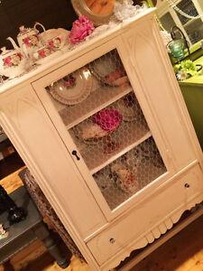 Restored&Refinished Antique Walnut China Cabinet/White/Ch Wire